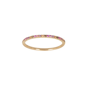 Bague Alliance Pastel Pierres Diamants Or