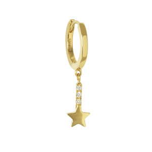 Mini Créole Barre Étoile Diamants Or (vendue à l'unité)