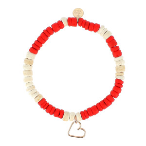 Bracelet Talisman Coeur Rouge Écru Gold Filled