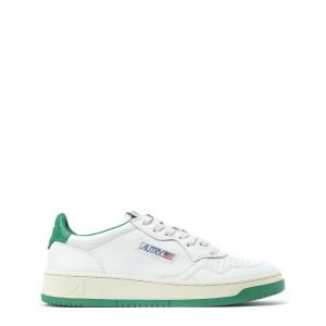 Baskets 01 Low Cuir Vert Blanc