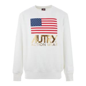 Sweatshirt Flag Gold Club Blanc