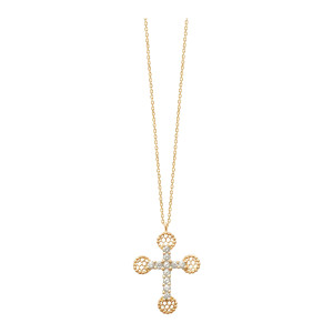 Collier Croix Romane PM Or Diamants