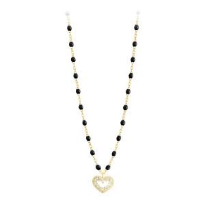 Collier Perles Résine Lucky Cœur Suprême Diamants Or Jaune
