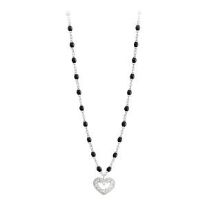 Collier Perles Résine Lucky Cœur Suprême Diamants Or Blanc