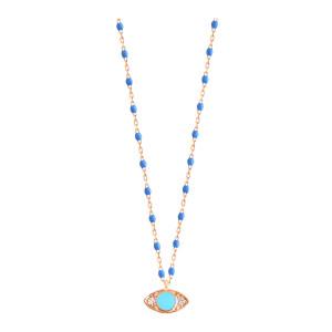Collier Voyage Œil Turquoise Résine Bleuet Or Diamants
