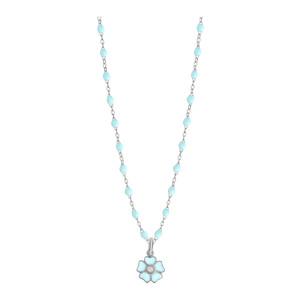 Collier Perles Résine Fleur Diamant Or Blanc
