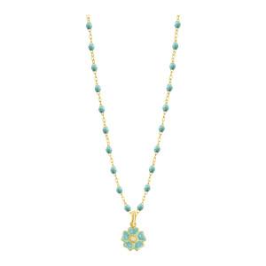 Collier Perles Résine Fleur Diamant Or Jaune