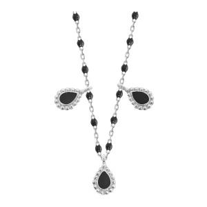Collier Mini Perles Résine 3 Lucky Cachemire Or Blanc