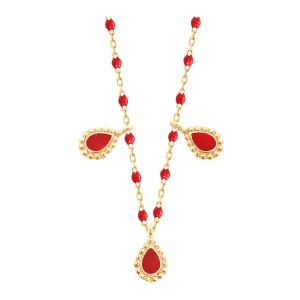 Collier Mini Perles Résine 3 Lucky Cachemire Or Jaune