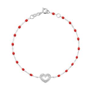 Bracelet Résine Cœur Suprême Diamants Or Gris