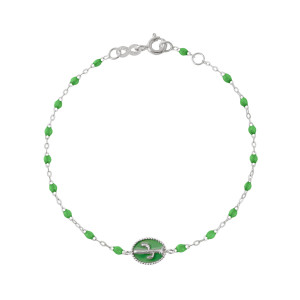 Bracelet Cactus Perles Résine Vert Prairie Or Blanc