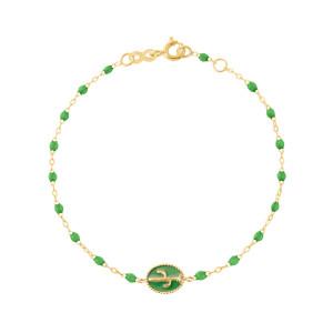 Bracelet Cactus Perles Résine Vert Prairie Or Jaune