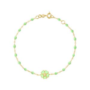 Bracelet Perles Résine Fleur Diamant Or Jaune