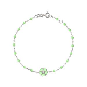 Bracelet Perles Résine Fleur Diamant Or Blanc
