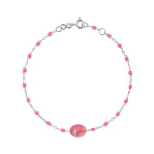 Bracelet Flamant Rose Perles Résine Rose Fluo Or Blanc