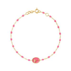 Bracelet Flamant Rose Perles Résine Rose Fluo Or Jaune