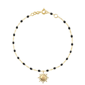 Bracelet Soleil Perles Résine Or