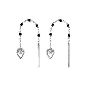 Boucles d'oreilles Lucky Poire Mini Résine Or Diamants