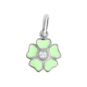 Pendentif Résine Fleur Diamant Or Blanc