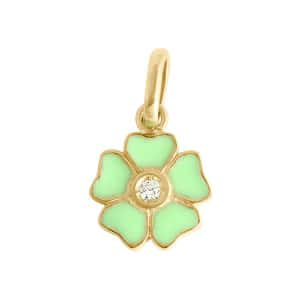 Pendentif Résine Fleur Diamant Or Jaune