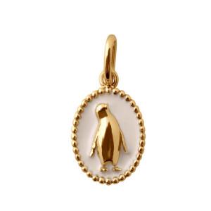 Pendentif Médaille Pingouin Résine Or