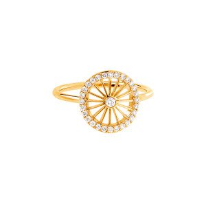 Bague Mini-Cheyenne Ronde Diamants Or Jaune