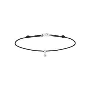 Bracelet BB Diamant Brillant Cordon Noir Or Blanc