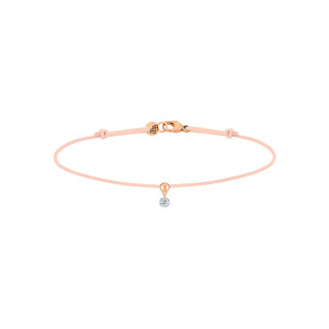 Bracelet BB Diamant Brillant Cordon Nude Or Rose