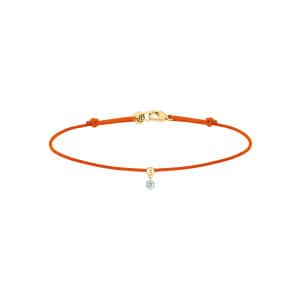 Bracelet BB Diamant Brillant Cordon Orange Or Jaune