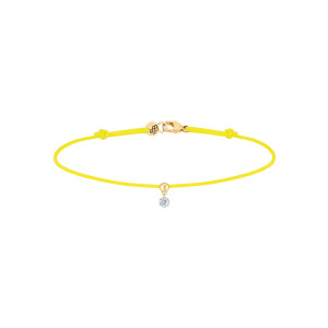Bracelet BB Diamant Brillant Cordon Jaune Fluo Or Jaune