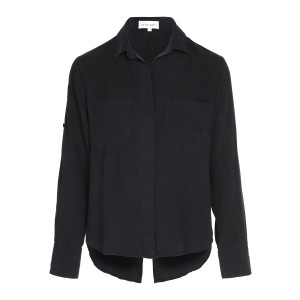 Chemise Split Back Button Noir Vintage