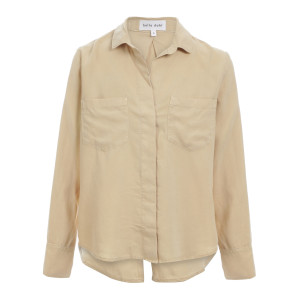 Chemise Split Back Button Down Beige