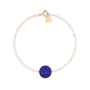 Bracelet Ever Disc Or Rose Lapis Lazuli