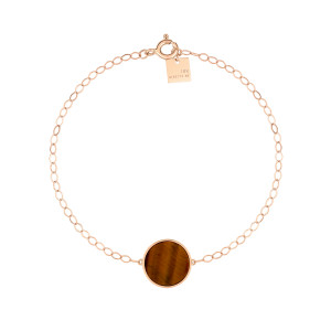 Bracelet Ever Disc Or Rose Œil de Tigre