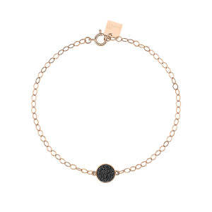 Bracelet Mini Ever Disc Or Rose Diamants Noirs