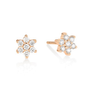 Boucles d'oreilles Star Puces Diamants Or Rose