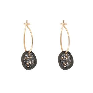 Boucles d'oreilles Eclat Médaille XS Argent Noir