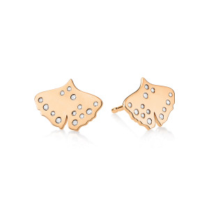 Boucles d'oreilles Gingko Diamants Or Rose