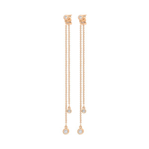 Boucles d'oreilles Lonely Diamonds Double Diamants Or Rose
