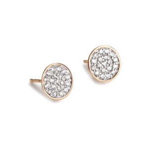 Boucles d'oreilles Ellipses & Sequins Ronds Or Rose Diamants