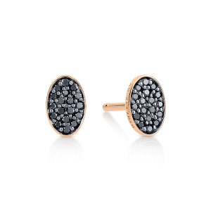 Boucles d'oreilles Ellipses & Sequins Ovales Or Rose Diamants Noirs