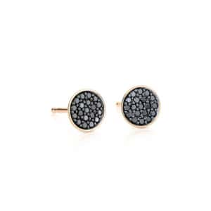 Boucles d'oreilles Ellipses & Sequins Ronds Or Rose Diamants Noirs