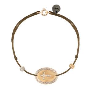Bracelet Ovale Croix Argent Doré Cordon Taupe