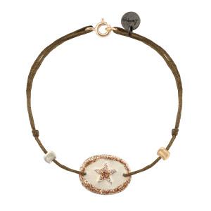 Bracelet Ovale Star Argent Blanc Cordon Taupe