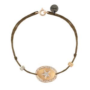 Bracelet Ovale Star Argent Doré Cordon Taupe