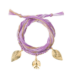 Bracelet Honolulu Charms Colombe Violet Plaqué Or