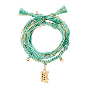 Bracelet Honolulu Charm Tortue Vert Plaqué Or