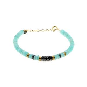 Bracelet Puka Amazonite Onyx