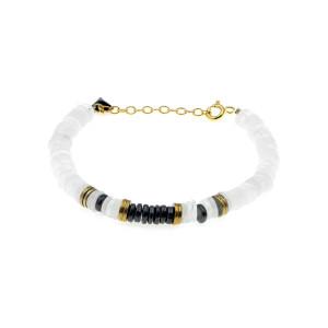 Bracelet Puka Onyx Pierre de Lune