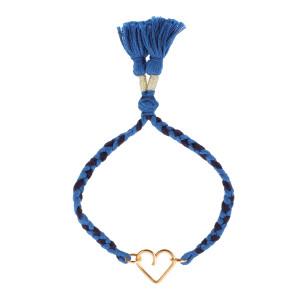 Bracelet Meera Cœur Gold Filled Cordon Bleu, Collection Hindi